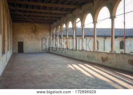 View of a detail of the reinassance Ducale palace in Vigevano (Lombardy, Northern Italy). Color image.
