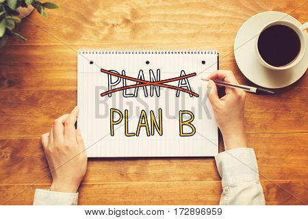 Plan B Text With A Person Holding A Pen