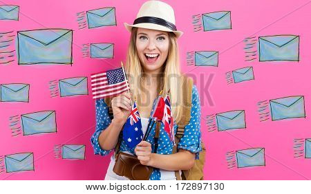 Email Illustration With Young Woman With Flags