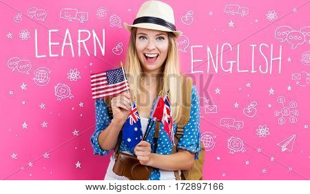 Learn English Text With Young Woman With Flags