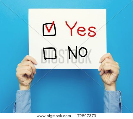 Yes No Text On A White Poster