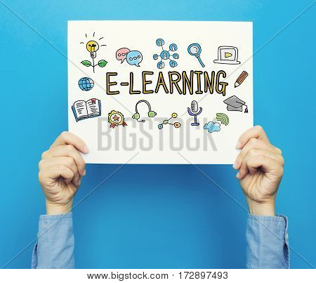 E-learning Text On A White Poster