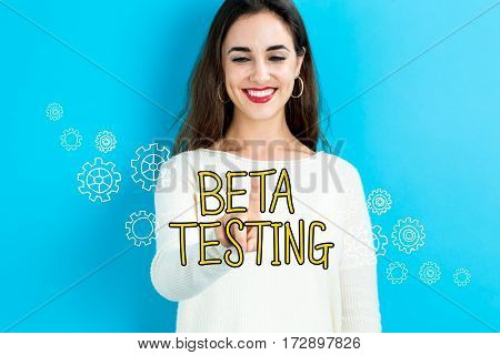 Beta Testing Text With Young Woman
