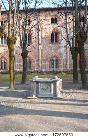 Winter view of the Ducale palace and own garden in Vigevano, reinassance town in Lombardy (Northern Italy). Color image.