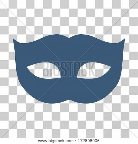 Privacy Mask vector icon. Illustration style is flat iconic blue symbol on a transparent background.
