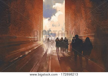 people walking on the narrow alley with graphic pattern on the walls, concept of way to beautiful place, illustration painting
