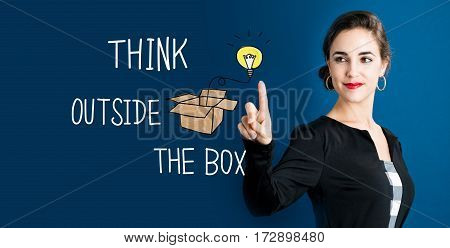 Think Outside The Box Text With Business Woman