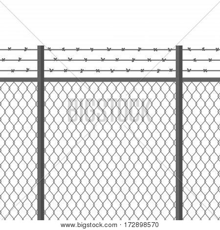 Metal fence with barbed wire. Fortification secured property separation concept. Prison barrier. Steel construction for danger areas safe zones borders protection. Flat modern vector illustration.