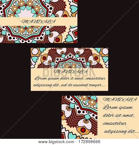 Template business cards with oriental pattern and  geometric circle element. Vintage decorative mandala pattern. Decorative floral business cards, vector template.