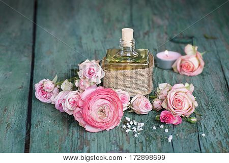 Decoration with a fragrant gift on an old shabby wooden table for mothers day