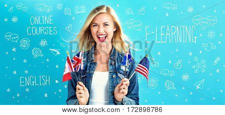 E-learning Theme With Young Woman With Flags