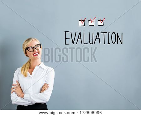 Evaluation Text With Business Woman