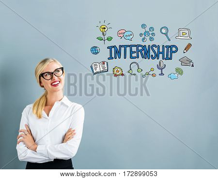 Internship Text With Business Woman