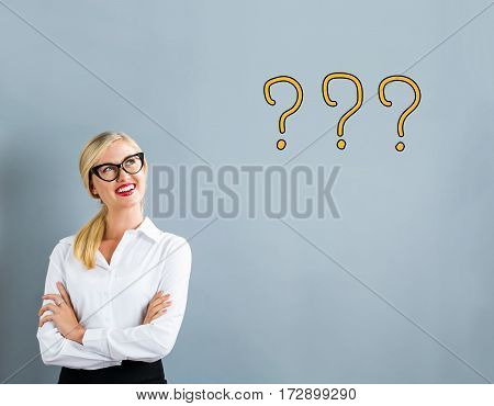 Question Mark Text With Business Woman