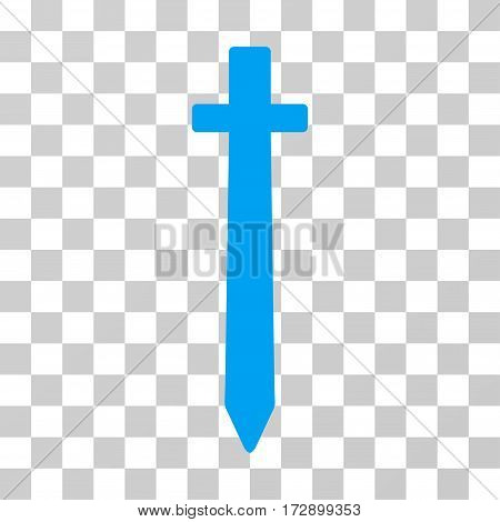 Symbolic Sword vector pictogram. Illustration style is flat iconic blue symbol on a transparent background.