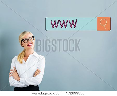 Www Text With Business Woman