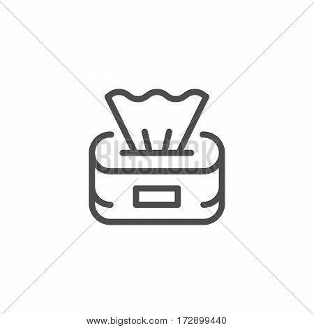 Paper napkins line icon isolated on white. Vector illustration