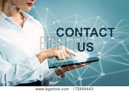 Contact Us Text With Business Woman