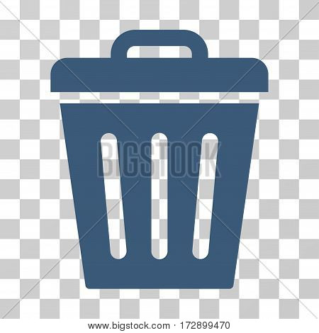 Trash Can vector pictograph. Illustration style is flat iconic blue symbol on a transparent background.