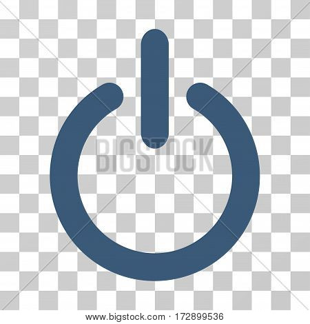 Turn Off vector icon. Illustration style is flat iconic blue symbol on a transparent background.