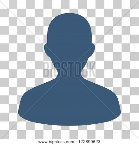 User vector pictograph. Illustration style is flat iconic blue symbol on a transparent background.