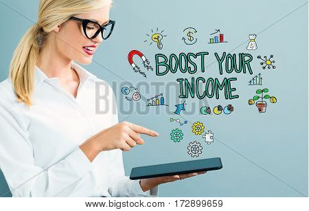 Boost Your Income Text With Business Woman