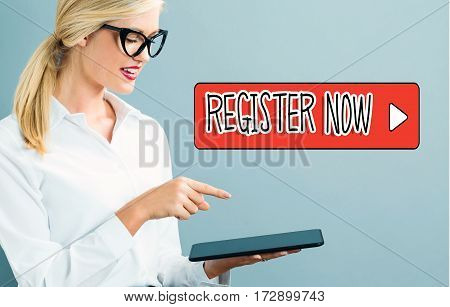 Resister Now Text With Business Woman