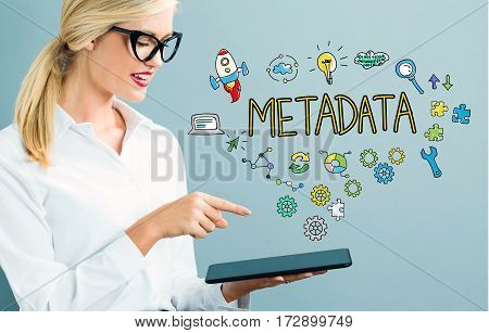 Metadata Text With Business Woman