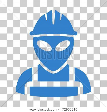 Alien Worker vector icon. Illustration style is flat iconic cobalt symbol on a transparent background.