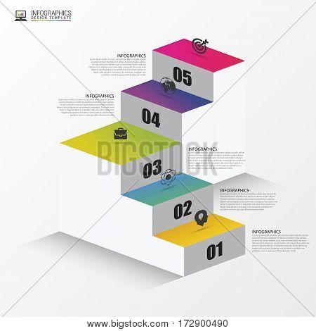 Abstract 3d stairs. Infographic or timeline template. Vector illustration