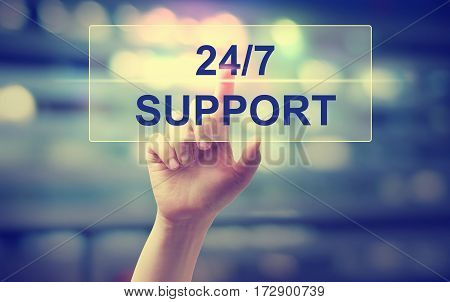 24-7 Support Concept With Hand