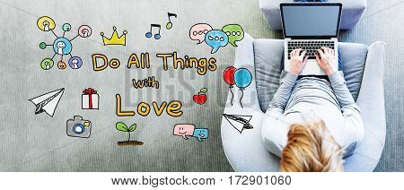 Do All Things With Love Text With Man