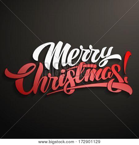 Merry Christmas inscription lettering design vector illustration