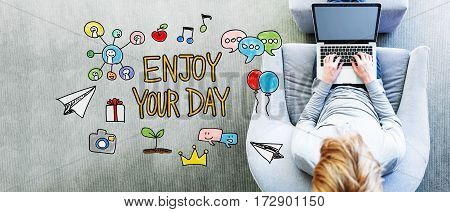 Enjoy Your Day Text With Man