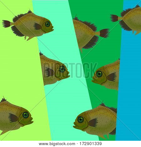 Modern background with fish. Fish geometric ornaments for design.