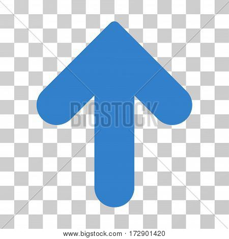 Arrow Up vector pictograph. Illustration style is flat iconic cobalt symbol on a transparent background.