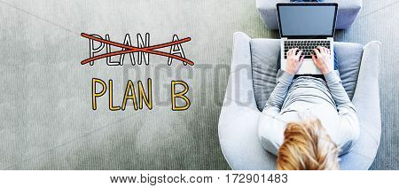 Plan B Text With Man Using A Laptop