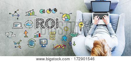 Roi Text With Man Using A Laptop