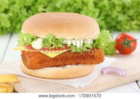 Fish Burger Fishburger Hamburger Onion Tomatoes Lettuce Cheese