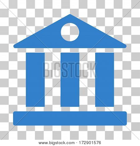 Bank Building vector pictogram. Illustration style is flat iconic cobalt symbol on a transparent background.