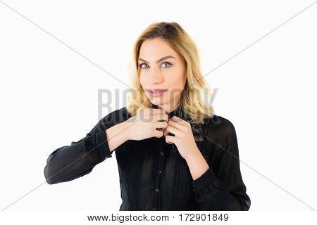 Portrait of beautiful woman posing against white background