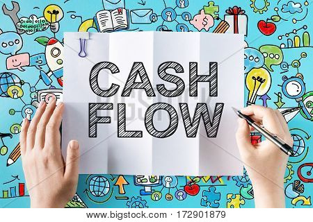 Cash Flow Text With Hands