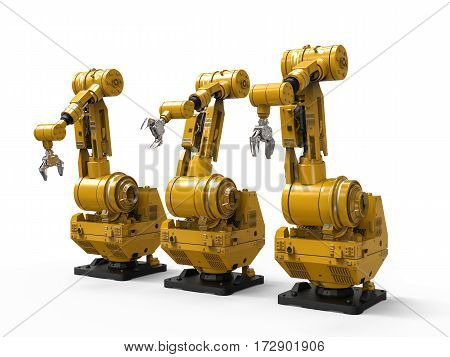 3d rendering robotic arms on white background