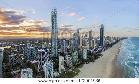 Aerial view of sunset over Surfers Paradise and beach, view looking north. Gold Coast Australia