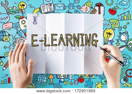 E-learning Text With Hands