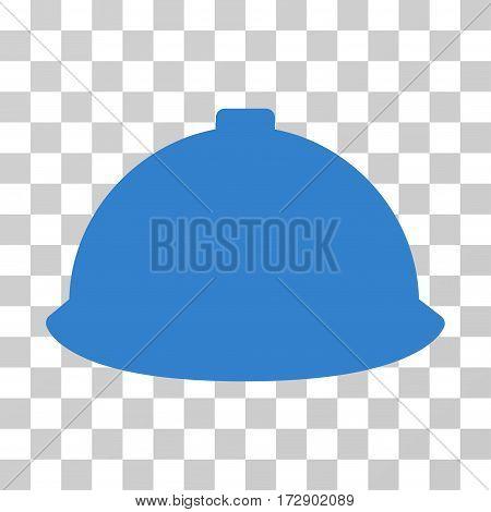 Builder Helmet vector pictograph. Illustration style is flat iconic cobalt symbol on a transparent background.