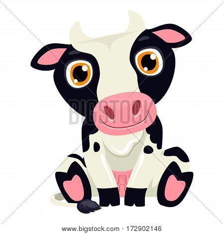 Vector Illustration of One Cute Cow Cartoon
