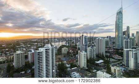 Aerial view of sunset over Surfers Paradise city center with the Q1 building. Gold Coast Australia