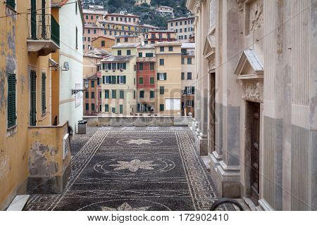 View of the old city centre of Camogli, along the shores of Ligurian Sea (Northern Italy). Color image.