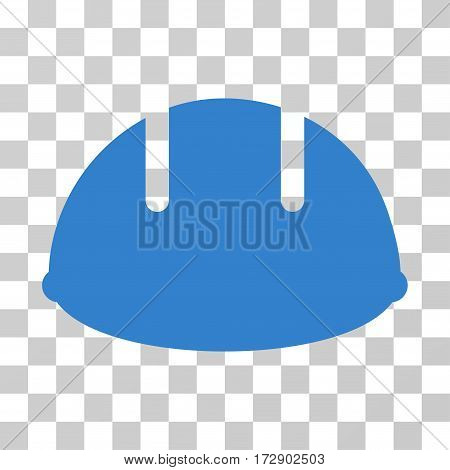 Builder Helmet vector pictogram. Illustration style is flat iconic cobalt symbol on a transparent background.